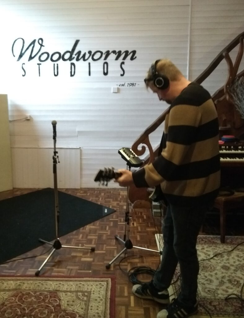 Niall recording at Woodworm Studios