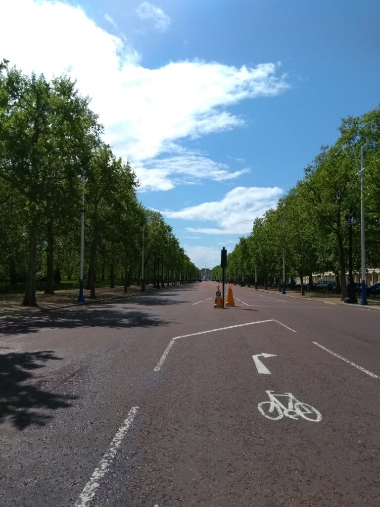 The Mall in London with no traffic during lockdown