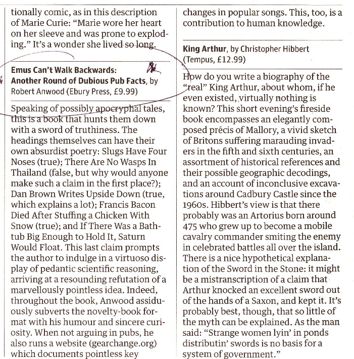 Guardian review of Emus Can't Walk Backwards